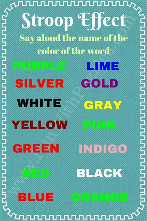 color word test stroop effect can you pass this color test