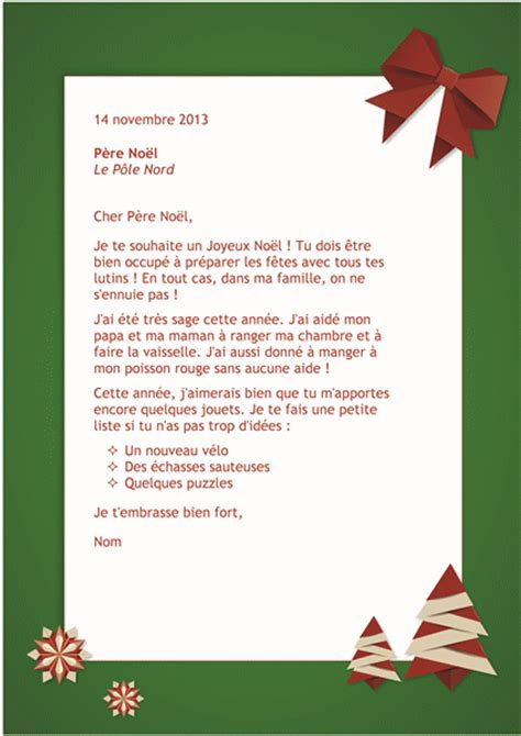 Exemple De Lettre Noel Lettre Au P 232 Re No 235 L Office Templates