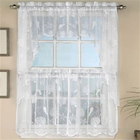 white tier curtains ivory lace nautical reef tier curtain