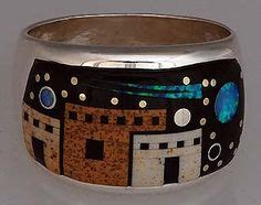 calvin begay sterling silver night sky inlay ring size