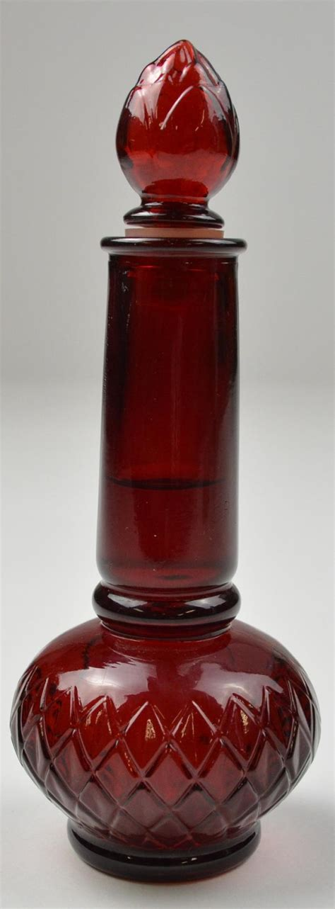 red bottle vintage avon ruby red topaz cologne bottle 7 quot tall