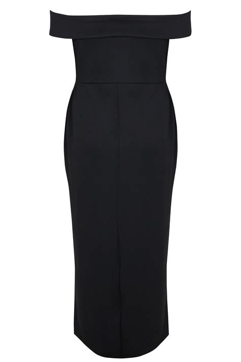 Id 740 Split Mesh Dress yours black bardot maxi dress with v neckline plus