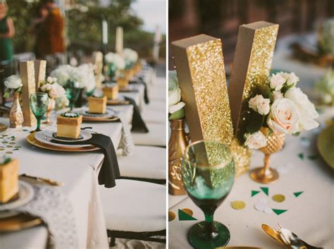 green gold decorations emerald green gold engagement inspiration every