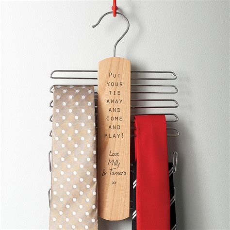 Tie Hanger - personalised fathers day tie rack and belt hanger by