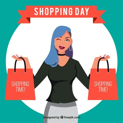 shopping for s day shopping day character vector free