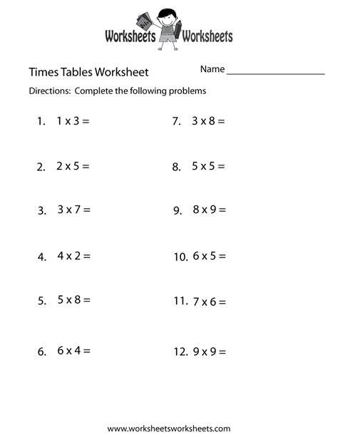 printable times worksheets images