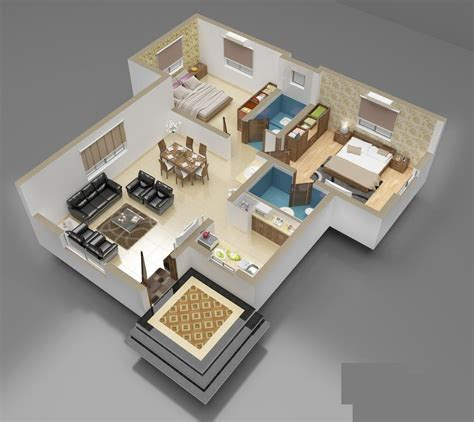 Home Plans With Interior Photos | 3d front elevation com 3d interior of house plan