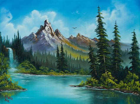 bob ross painting water reflections wilderness waterfall painting by c