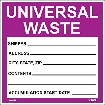Amazon Com Nmc Hw30ap Hazardous Waste Container Label Quot Universal Waste Quot 6 Quot Width X 6 Quot Height Free Hazardous Waste Label Template