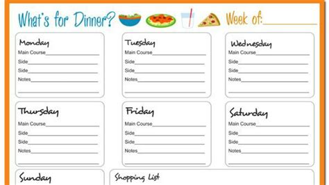 disorder meal plan template 18 dinner menu planner template week at a glance the