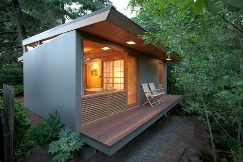 tiny house with deck modern small house deck contemporary with wood slats bulb
