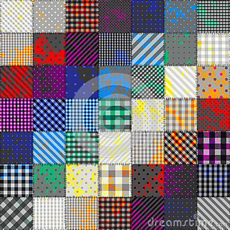 Patchwork Effect - patchwork of fabric in rainbow colors stock vector image