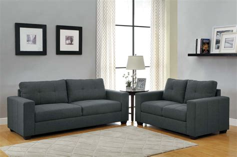 dark couch homelegance ashmont sofa set dark grey linen u9639 3