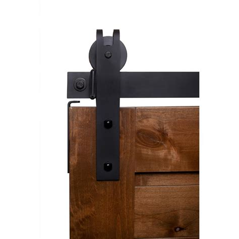 Rustica Barn Door Hardware Rustica Hardware 6 Ft Garrick Barn Door Hardware In Flat Black With Unfinished Header K4r264n6b
