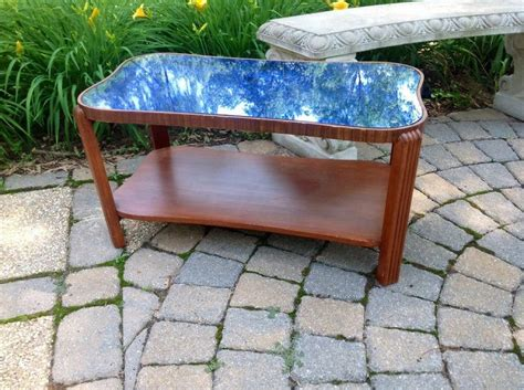 deco blue glass coffee table vintage deco modern cobalt blue glass mirror top