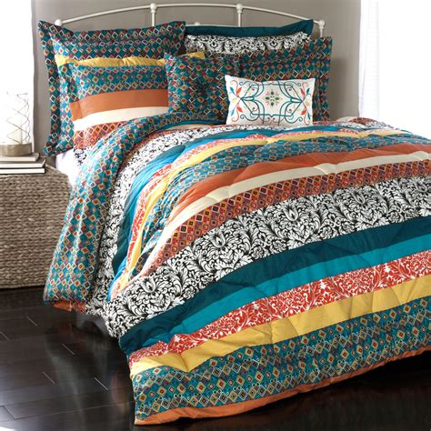 boho bed comforters lush decor boho stripe comforter collection reviews