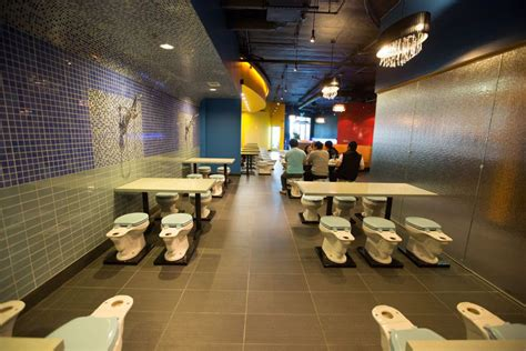 bathroom themed restaurant outrageously themed magic restroom cafe soft opens