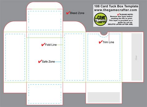 cards box template pdf tuck box 108 cards