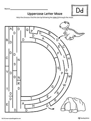 printable maze letter d letter d uppercase and lowercase matching worksheet