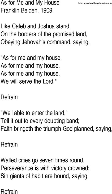 Hymn And Gospel Song Lyrics For As For Me And My House By Franklin Belden