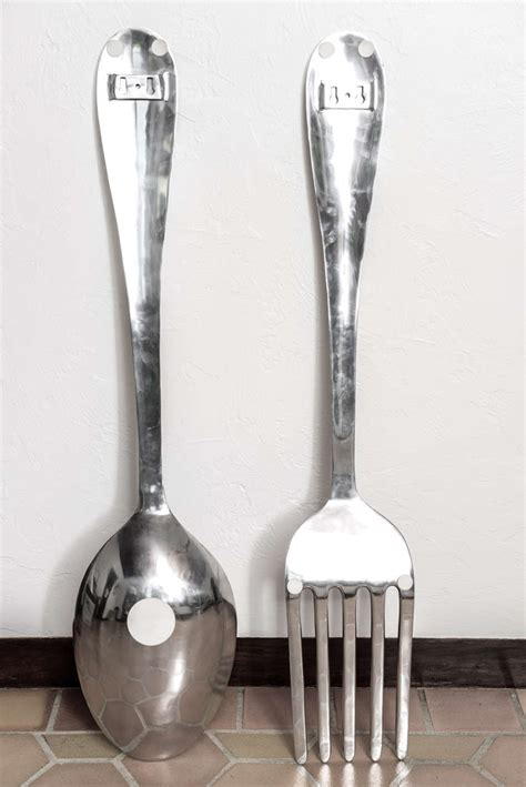 wall fork and spoon large fork and spoon wall hanging at 1stdibs