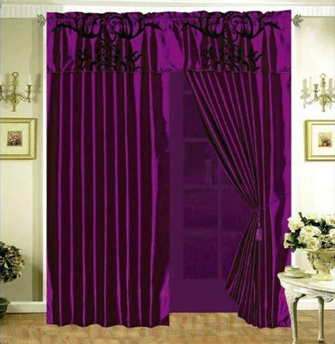 purple satin curtains 3 layer modern flock satin black purple faux silk curtain