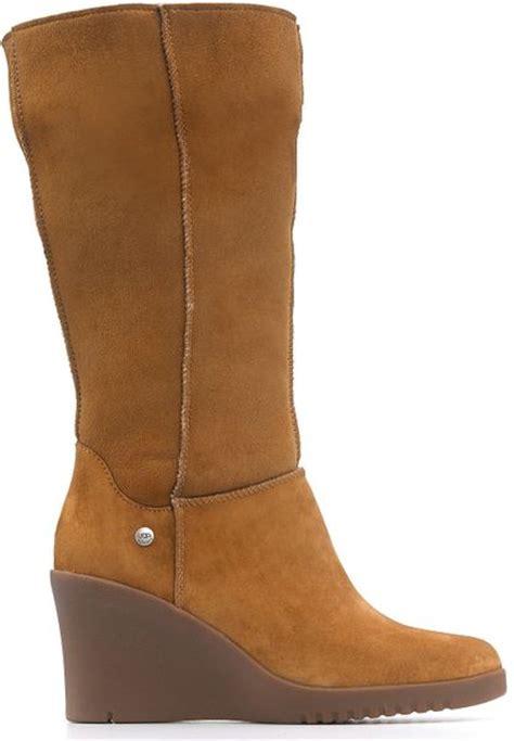 ugg joslyn wedge boots in brown chestnut lyst