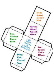 printable verb dice english worksheets verbs dice