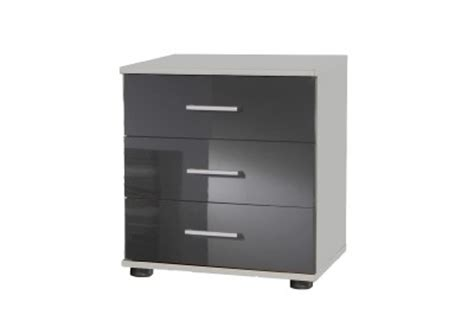 White And Grey Bedside Cabinet German Chest Of 3 Drawers Bedside Cabinet In Grey High