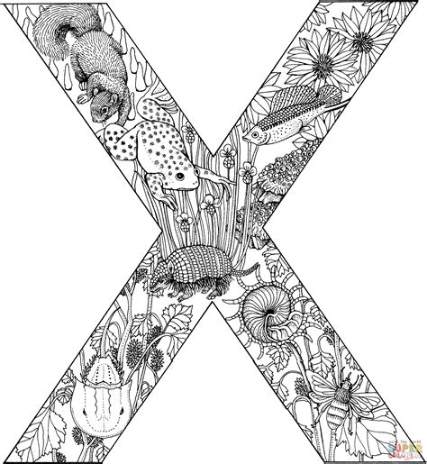 letter x with animals coloring page free printable