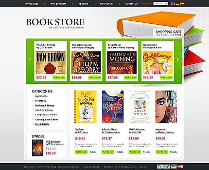90 books stores reviews and weblog website templates