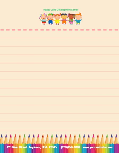 child care stationery set template 11 child care owner