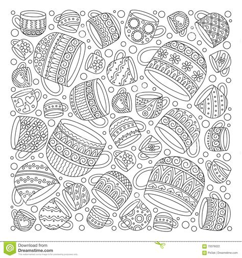 pattern for coloring book with cups stock vector image
