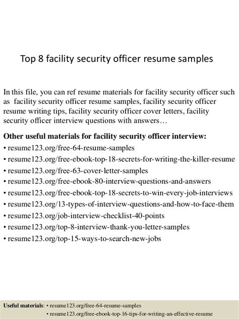 top  facility security officer resume samples