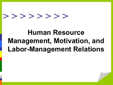 Mba In Personnel Management And Industrial Relations by Human Resource Management Motivation And Labor