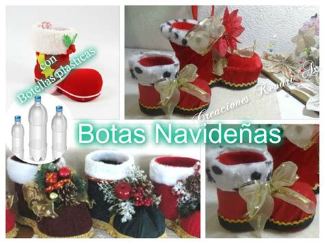 imagenes de santa claus reciclado botas navide 241 as con botellas pl 225 sticas diy manualidades
