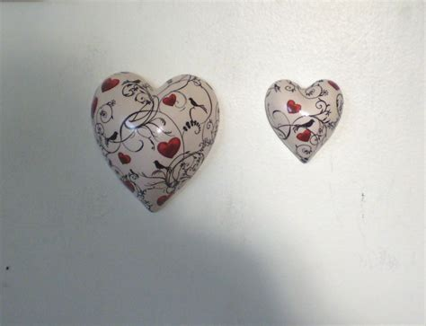 Handcrafted Hearts - designer ceramic hearts 2 sizes birds hearts