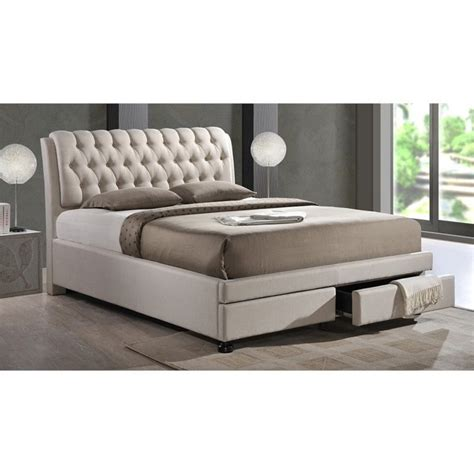 upholstered bed with storage ainge upholstered king storage bed with drawers in beige