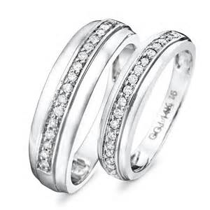 his and hers wedding rings 1 3 ct t w his and hers wedding rings 14k white gold my trio rings wb114w14k