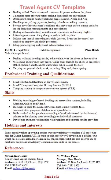 Cook Resume Sample Pdf by Travel Agent Cv Template 2