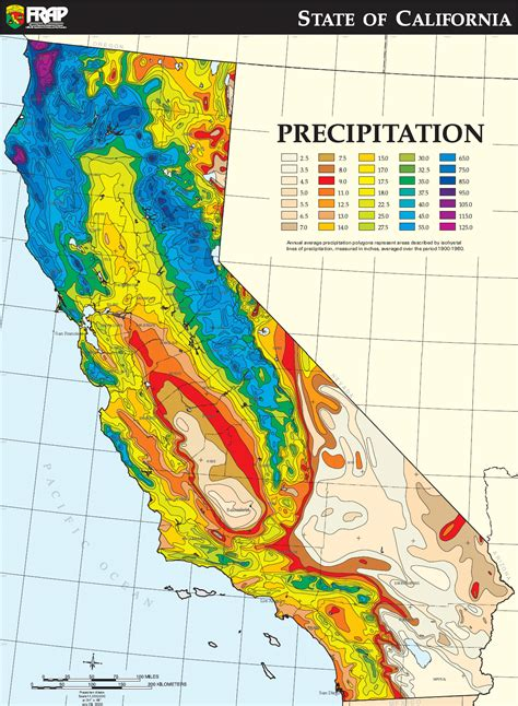 weather maps california california average annual precipitation map 1900 1960