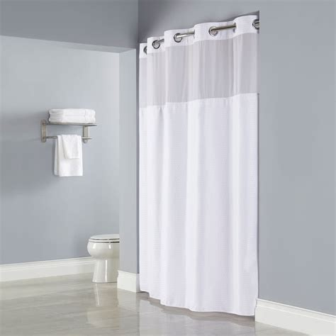 hookless shower curtains with snap on liner hookless hbh26mys01sl77 white deliah shower curtain with