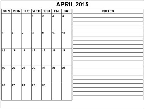 printable calendar 2015 with notes best collection of april 2015 calendar with notes april
