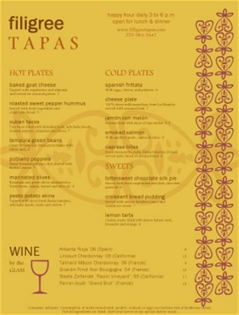 tapas menu template tapas food menu tapas menus