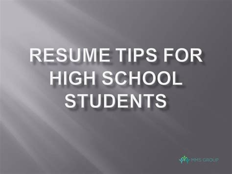 5 Resume Tips by 5 Resume Tips For High School Students