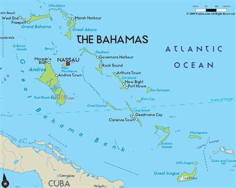 where is the bahamas on the world map bahamas landform map