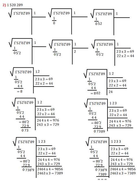 tavole numeriche radice quadrata esercizi sull algoritmo della radice quadrata