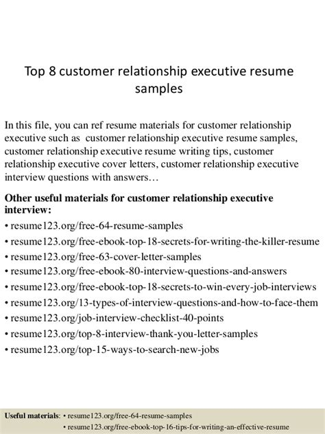 Roofing Job Description Resume by Top 8 Customer Relationship Executive Resume Samples