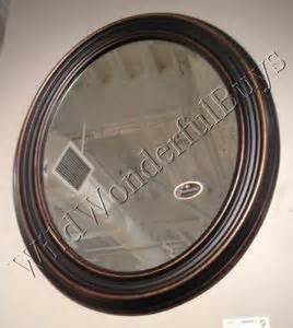 bronze mirror bathroom ribbed wall mirror antique bronze gold 34 quot oval wood frame