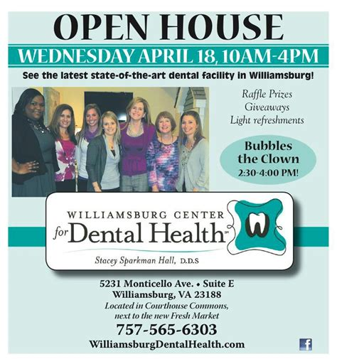 open house ad open house on april 18 meet dr stacey hall staff williamsburg center for dental